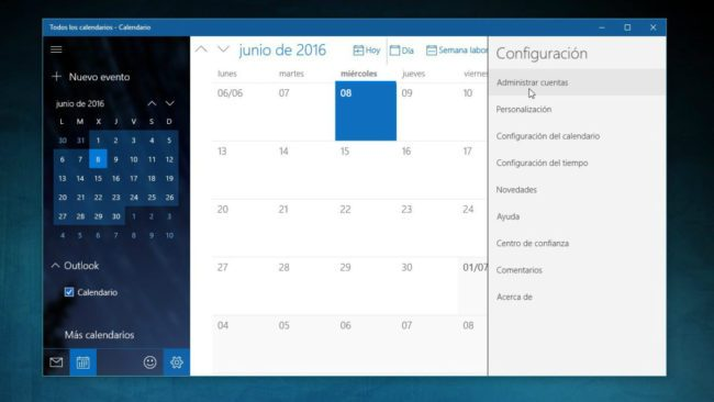 Sincroniza eventos de Gmail en calendario Windows 10