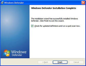 Figura 2. Instalación finalizada de Windows Defender