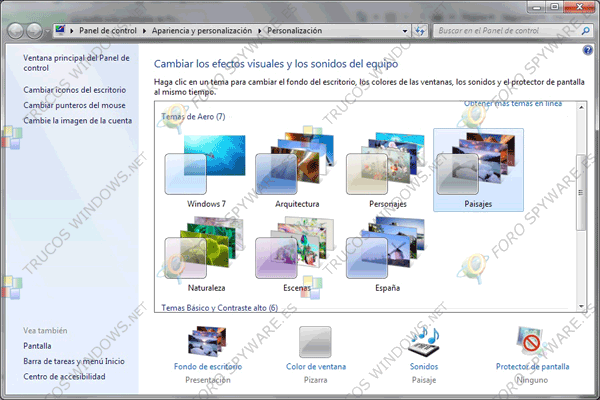 Temas Windows 7 personalización