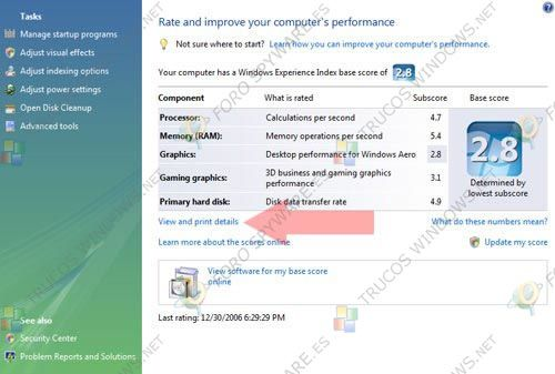 View and Print detailed performance and system information