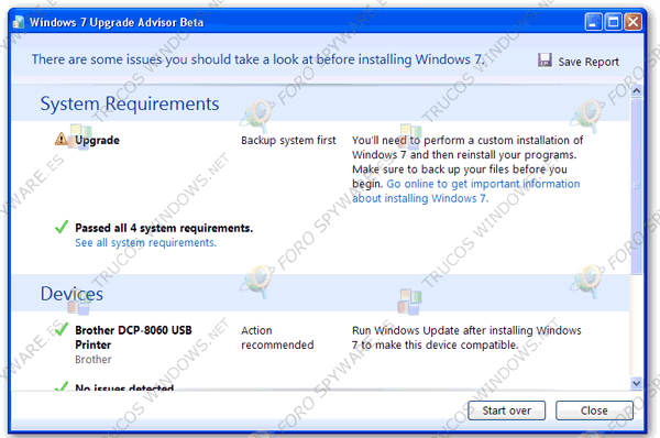 Windows 7 Upgrade Advisor Resultados analisis