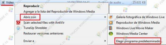 Asociar archivos con programas en Windows 7
