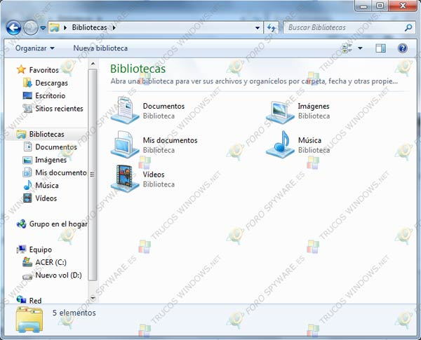 Bibliotecas en Windows 7