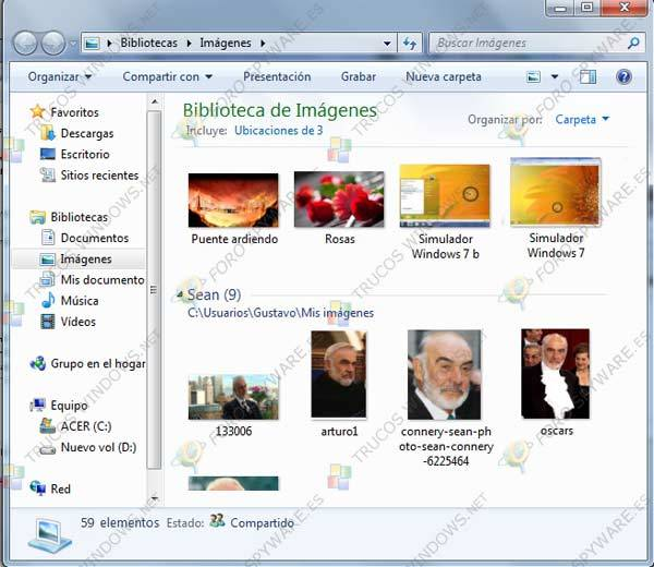 Bibliotecas en Windows 7 Imagenes