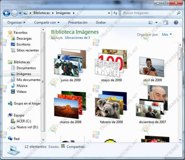 Bibliotecas en Windows 7 Clasificación