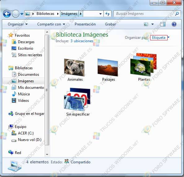 Bibliotecas en Windows 7 Etiqueta