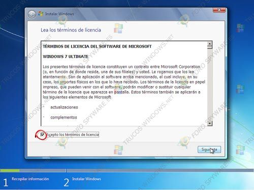 Aceptación terminos licencia Windows 7
