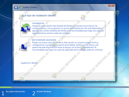 Tipos de instalación de Windows 7