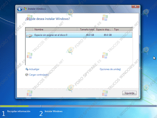 Particionamiento disco instalación de Windows 7