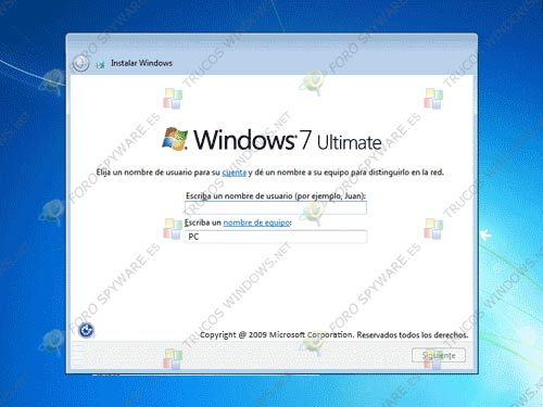 Configurando nombre usuario en Windows 7