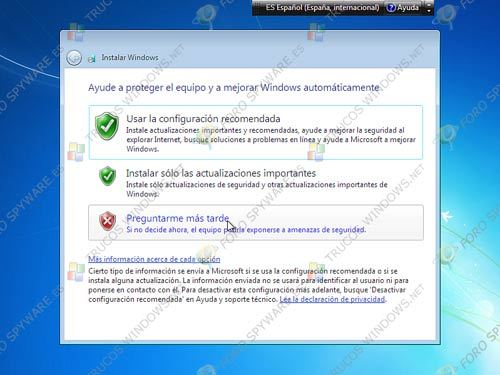 Configurar opciones actualizaciones Windows 7