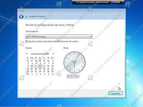 Configurar hora y fecha de Windows 7