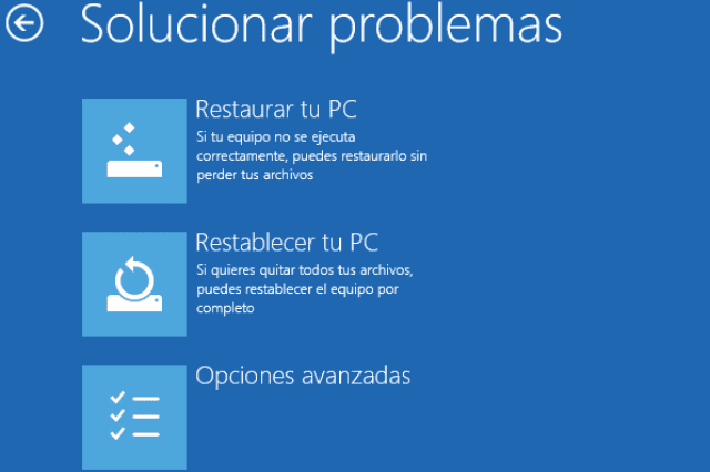 Entrar en reparar Windows 10