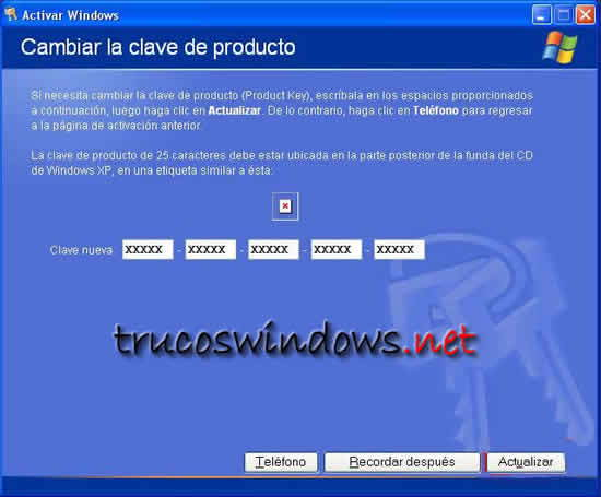 Instalar SP1 cambiando número de serie al Windows XP